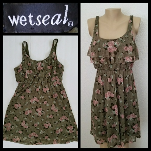 Wetseal Green Flower Plus Size Dress 2X